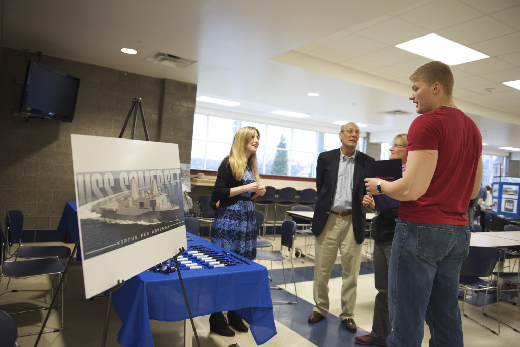 Bob Kirst and Nichole Sheets of Global/SFC Valve talk to interested attendees about careers in manufacturing. Photo credit: Brittney Lybarger.